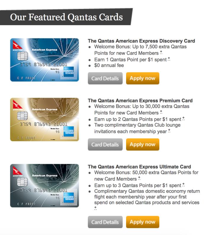 American Express Qantas Cards