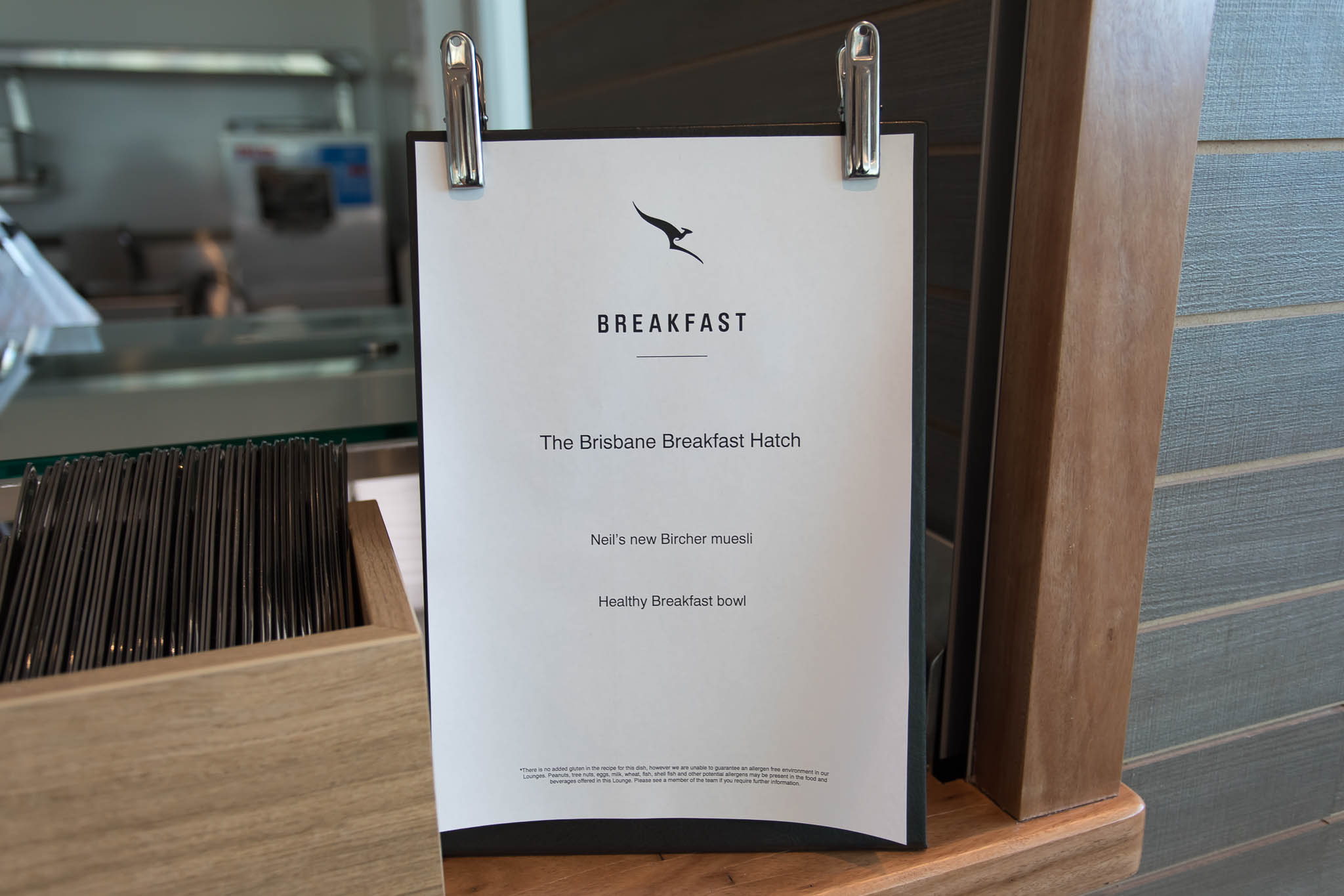 Qantas Brisbane International Lounge Level 2 Breakfast Hatch Menu