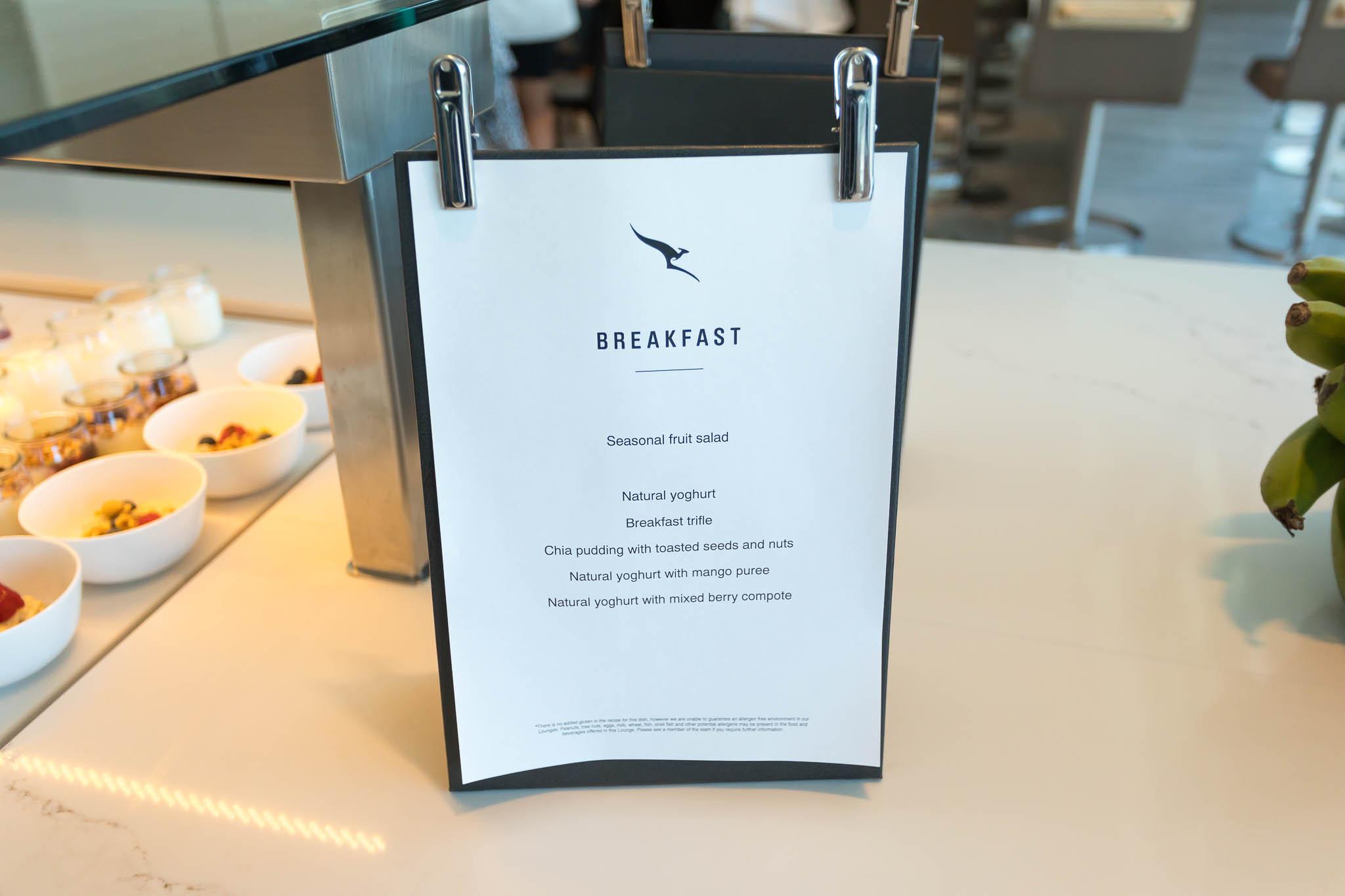 Qantas Brisbane International Lounge Breakfast Menu