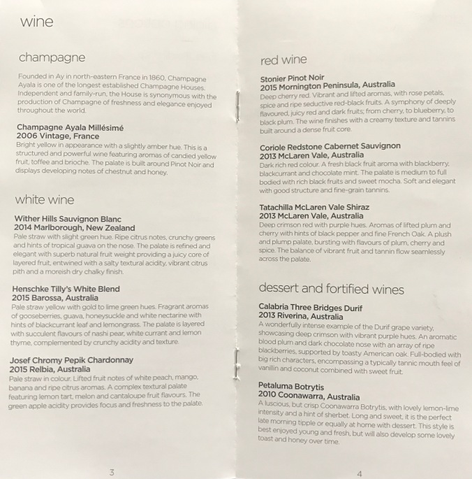 Virgin Australia Long Haul Business Class Menu