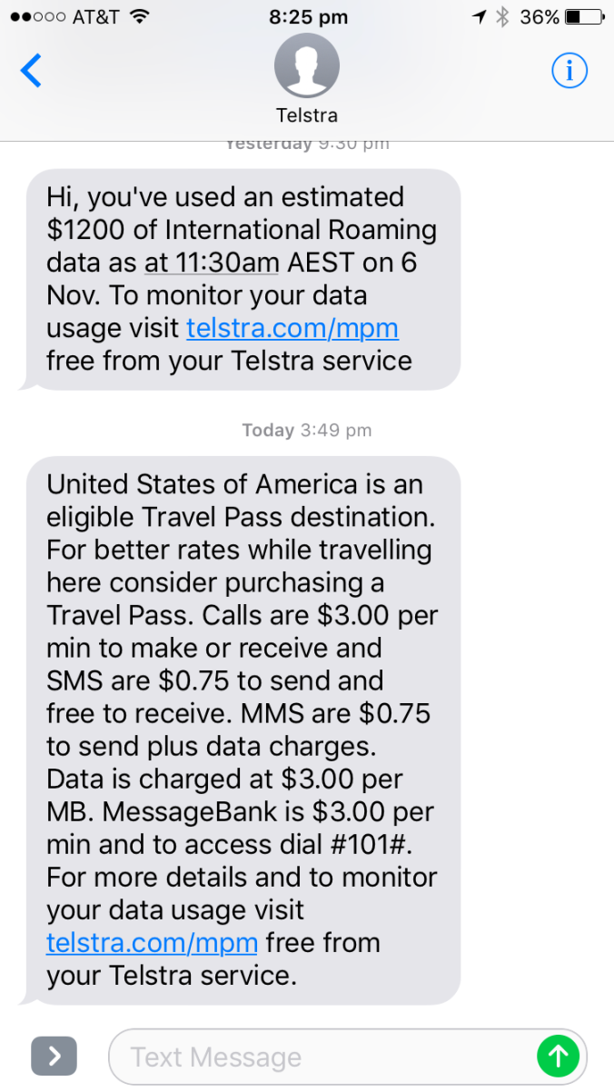 How nice of Telstra to send me travel pass information at the end of my trip!