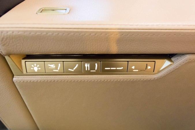 Etihad 787 First Class Seat Controls