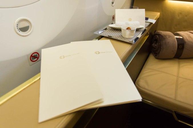 Etihad 787 First Class Menu's