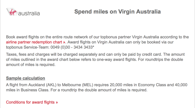 Award Redemptions on Virgin Australia